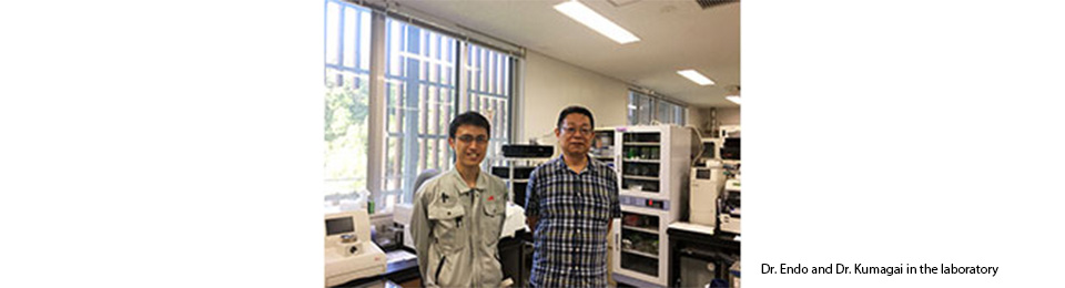 Dr. Endo and Dr. Kumagai in the laboratory