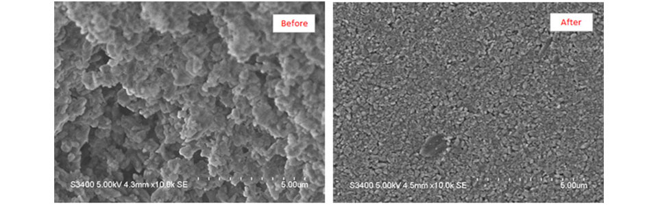 Observation of alumina ground with NP-100 before_after