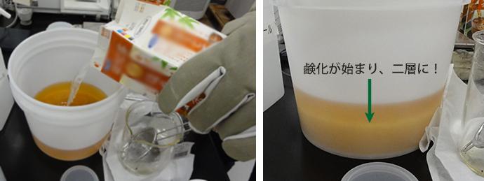 油にNaOH水溶液を入れるとすぐに鹸化が始まり、撹拌前から白く濁った層ができています。