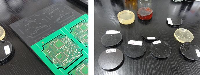 左:開発した「カーボンナノチューブ配合樹脂受け治具」 右:柔らかいエポキシ作成のためのサンプルの一部