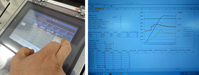 ARV-3000TWINの操作はタッチパネル。撹拌中の詳細なログデータがリアルタイムでモニタリングできます