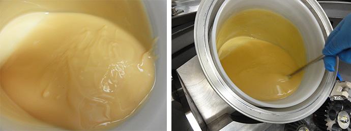 左:撹拌後のトレース 右:ARV-3000TWINでの撹拌結果を確認する