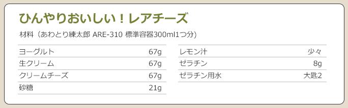 練太郎の標準容器の容量に合わせてレシピを変える
