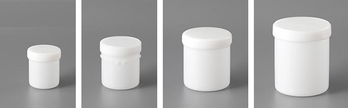 標準容器(左から150ml、300ml(ツメ付き)、550ml、750ml)