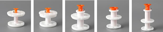 シリンジ用アダプター(左から3ml、5ml、10ml、30ml、50ml)